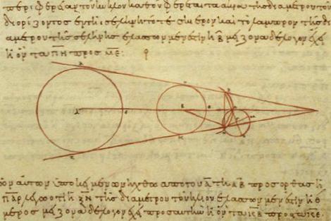 Dibujos en un texto griego en los que se estudia la geometría de los eclipses lunares y que revelan el hecho que la Luna ya era conocida como un cuerpo astronómico independiente. Crédito: Librería Vaticano.