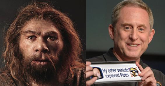 Alan Stern (derecha), líder de la misión New Horizons y el líder de una pequeña comunidad de Homo Sapiens hace 70,000 años (izquierda) tienen genes casi idénticos.  Entre su carga genética se encuentra una obsesión por la exploración que ha llevado a nuestra especie a explorar paisajes desconocidos simplemente porque están ahí.