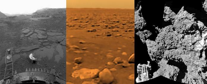 Las superficies de Venus (izquierda), Titán (centro) y el cometa Churyomov-Gerasimenko (izquierda) son los sitios más increíbles en el que los seres humanos han hecho impactar meteoritos tecnológicos.  El primero, Venus es un infierno ardiente, 400 grados a la sombra, el segund, Titán es un desierto helado, 200 grados bajo cero y el tercero es prácticamente como si el vacío tuviera suelo, la gravedad es casi nula y no hay atmósfera