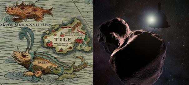La Ultima Thule mitológica en un mapa de 1539 y la Ultima Thule del sistema solar.  Fuente: Wikimedia, NASA