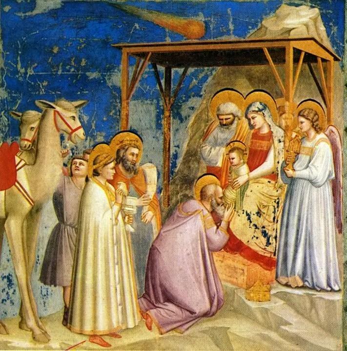 El pintor Giotto di Bondone fue posiblemente el primero en especular a través de sus pinturas la posible naturaleza astronómica de la estrella de Belén, representada aquí como un cometa (un fenómeno que en su tiempo todavía se consideraba de naturaleza atmosférica)