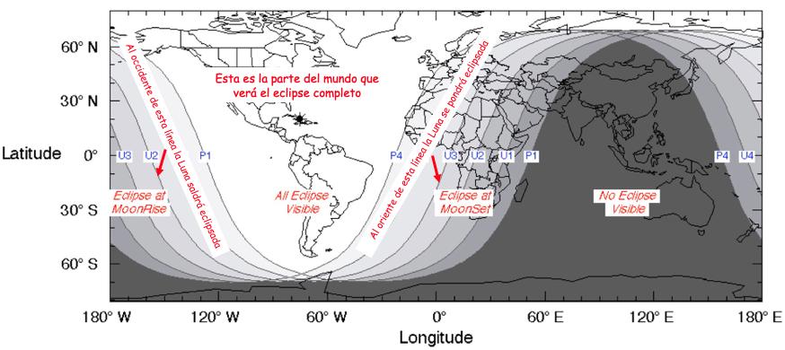 Mapa describiendo las regiones del planeta que verán el eclipse de Luna del 20/21 de enero de 2019.  Adaptado de F. Espenack/NASA.