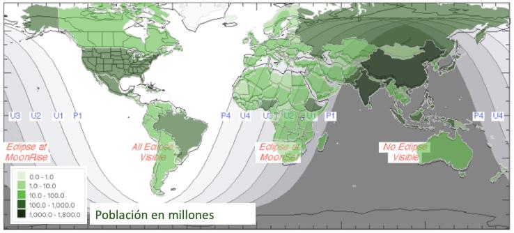 Superposición de un mapa con la población total por regiones y las condiciones de observación del eclipse total de Luna de enero 20/21 de 2019.  La alineación de los mapas no es perfecta porque han sido elaborados con proyecciones diferentes, sin embargo ofrecen una guía básica para entender la dimensión del número de personas que podrán ver el eclipse.  Datos de población tomados de: http://www.worldpopdata.org/map