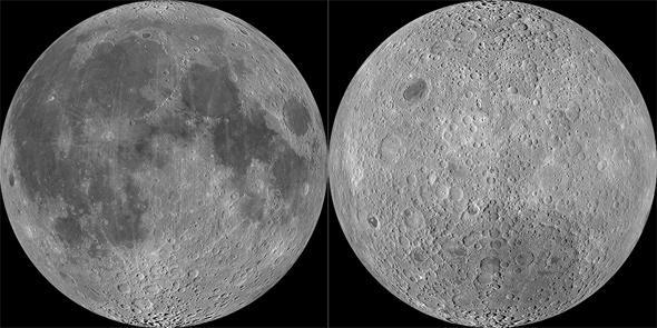 La apariencia actual de la Luna, llena de cráteres, algunos de ellos inmensos tales como en los que residen los mares (noten la forma redondeada de muchos de ellos) así como la depresión Aitken (abajo en el lado no visible de la luna a la derecha) fue producto del denominado bombardeo tardío.  Crédito: NASA/GSFC/Arizona State University.