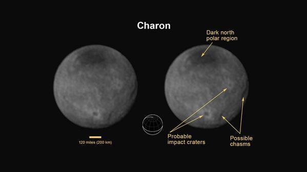 Última imagen de Caronte tomada por LORRI el domingo 12 de julio de 2015. Crédito: NASA/JPL/APL.