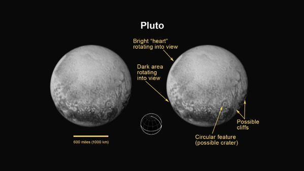 Última imagen de Plutón tomada por LORRI el 12 de julio de 2015. Crédito: NASA/JPL/APL.