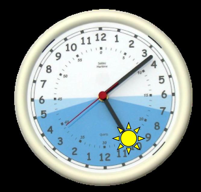 Imagine que el reloj en el cielo es como la punta de la manecilla de un reloj gigante. El movimiento de esta manecilla no es regular como la de un reloj convencional