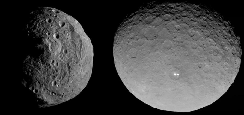 Vesta y Ceres, asteroides o planetas enanos del cinturón principal y que fueron visitados recientemente por la sonda DAWN han mostrado evidencias de ser objetos tan complejos como sus hermanos mayores los planetas (crédito: NASA)